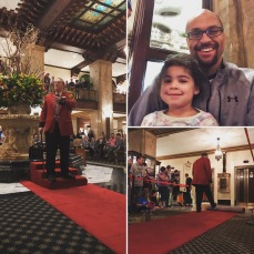 The master of ceremonies tells the story of the Peabody Hotel ducks and rolls out the red carpet.